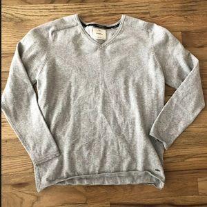 Zara boys cotton gray v neck sweater 13-14